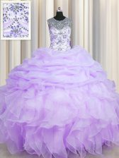 Scoop See Through Floor Length Lavender Quince Ball Gowns Organza Sleeveless Beading and Ruffles and Pick Ups