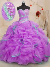 Exceptional With Train Lilac Vestidos de Quinceanera Sweetheart Sleeveless Brush Train Lace Up