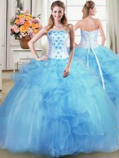 Baby Blue Strapless Lace Up Beading and Appliques and Ruffles Sweet 16 Dress Sleeveless