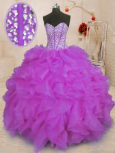 Hot Sale Beading and Ruffles Ball Gown Prom Dress Purple Lace Up Sleeveless Floor Length