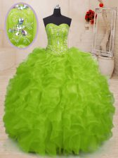 Yellow Green Sleeveless Organza Lace Up Quinceanera Gowns for Military Ball and Sweet 16 and Quinceanera