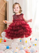 Deluxe Scoop Tulle Sleeveless Mini Length Toddler Flower Girl Dress and Ruffled Layers and Sequins