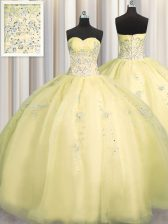 Really Puffy Light Yellow Sleeveless Organza Zipper Ball Gown Prom Dress for Military Ball and Sweet 16 and Quinceanera