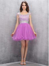 Scoop Lilac A-line Beading Homecoming Dress Zipper Tulle Sleeveless Mini Length