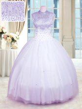 New Arrival Lavender Ball Gowns Tulle High-neck Sleeveless Beading Floor Length Zipper Sweet 16 Dresses