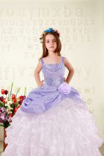 Wonderful Floor Length Lavender Little Girls Pageant Dress Organza Sleeveless Beading and Ruffled Layers and Hand Made Flower