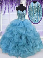Best Aqua Blue Sweetheart Neckline Beading and Ruffles Quinceanera Dress Sleeveless Lace Up