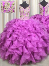 Artistic Fuchsia Quince Ball Gowns Military Ball and Sweet 16 and Quinceanera with Beading and Ruffles V-neck Sleeveless Lace Up