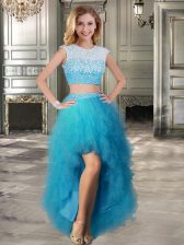 A-line Prom Gown Teal Scoop Tulle Cap Sleeves High Low Lace Up