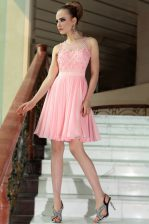 Chiffon Scoop Sleeveless Side Zipper Pleated Prom Dresses in Baby Pink
