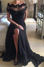 Excellent Off the Shoulder Black A-line Beading and Lace Backless Chiffon Short Sleeves