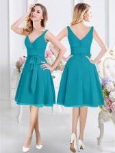 Smart Teal Sleeveless Knee Length Ruching and Belt Zipper Dama Dress for Quinceanera