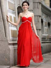 High Quality Coral Red Zipper Dress for Prom Beading Sleeveless Ankle Length