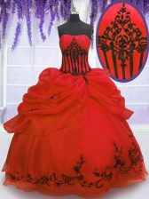 Adorable Pick Ups Floor Length Ball Gowns Sleeveless Red Sweet 16 Quinceanera Dress Lace Up
