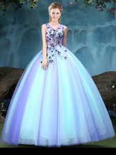 Elegant Floor Length Multi-color Quince Ball Gowns V-neck Sleeveless Lace Up