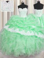Sweetheart Sleeveless 15th Birthday Dress Floor Length Beading and Appliques and Ruffles and Pick Ups Green Organza