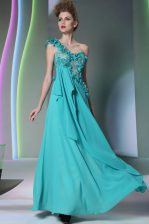 Chiffon One Shoulder Sleeveless Side Zipper Lace and Hand Made Flower Prom Dresses in Teal