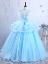 Popular Short Sleeves Floor Length Appliques and Ruffles Lace Up Dress for Prom with Baby Blue