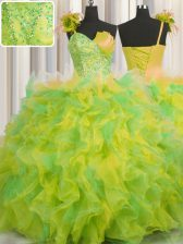One Shoulder Handcrafted Flower Multi-color Ball Gowns Beading and Ruffles and Hand Made Flower Quinceanera Gowns Lace Up Tulle Sleeveless Floor Length