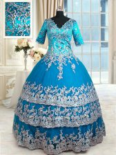Nice Teal 15 Quinceanera Dress Military Ball and Sweet 16 and Quinceanera with Beading and Lace and Appliques and Ruffled Layers V-neck Half Sleeves Zipper