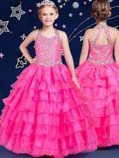 Halter Top Hot Pink Zipper Little Girl Pageant Dress Beading and Ruffled Layers Sleeveless Floor Length