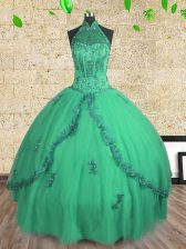 Modest Floor Length Turquoise Quinceanera Gowns Halter Top Sleeveless Lace Up