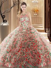 Fabric With Rolling Flowers High-neck Sleeveless Brush Train Criss Cross Ruffles and Pattern Quinceanera Gowns in Multi-color