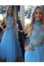 Baby Blue Zipper Prom Gown Beading and Appliques Sleeveless Floor Length