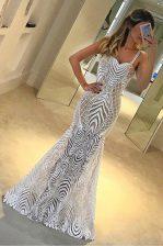 Mermaid Sleeveless Zipper Floor Length Lace Prom Dresses