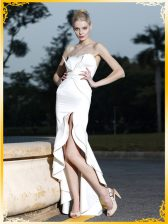 Mermaid White Satin Zipper Prom Gown Sleeveless High Low Lace