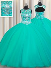 Scoop Appliques Quinceanera Dress Turquoise Lace Up Sleeveless Floor Length