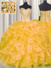 Custom Made Sweetheart Sleeveless Sweet 16 Dress Floor Length Beading and Ruffles Gold Organza