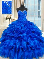 Delicate Royal Blue Organza Lace Up Ball Gown Prom Dress Sleeveless Floor Length Beading and Ruffles