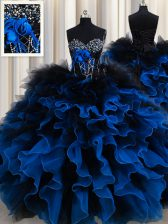 Exquisite Royal Blue Sweetheart Neckline Beading and Ruffles 15 Quinceanera Dress Sleeveless Lace Up