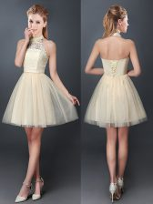 Halter Top Champagne Sleeveless Tulle Lace Up Court Dresses for Sweet 16 for Prom and Party and Wedding Party