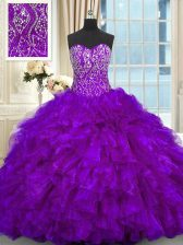 Beauteous Purple Sleeveless Beading and Ruffles Lace Up Sweet 16 Quinceanera Dress