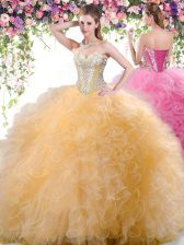 Gold Sweetheart Lace Up Beading and Ruffles Ball Gown Prom Dress Sleeveless