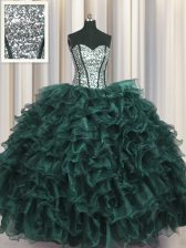Fabulous Visible Boning Peacock Green Lace Up Sweetheart Ruffles and Sequins Sweet 16 Dresses Organza and Sequined Sleeveless