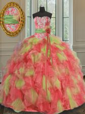 Dramatic Multi-color Ball Gowns Sweetheart Sleeveless Organza Floor Length Lace Up Beading and Ruffles and Sashes ribbons Quince Ball Gowns