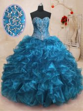 Superior Blue Lace Up Sweetheart Beading and Ruffles 15 Quinceanera Dress Organza Sleeveless Sweep Train