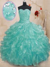 Ball Gowns 15th Birthday Dress Teal Sweetheart Organza Sleeveless Floor Length Lace Up