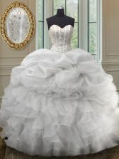 Sexy Sleeveless Organza Floor Length Lace Up Quinceanera Gowns in White with Beading and Ruffles and Pick Ups