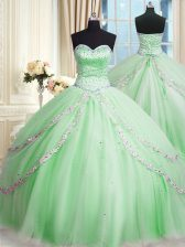 Nice Sweetheart Neckline Beading and Appliques Ball Gown Prom Dress Sleeveless Lace Up
