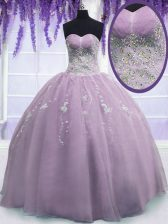 On Sale Lilac Zipper Sweetheart Beading Vestidos de Quinceanera Organza Sleeveless