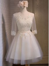 New Arrival Scoop Half Sleeves Mini Length Lace Up Prom Dress White for Prom with Appliques