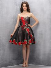 Mini Length Brown and Pink And Black Prom Evening Gown Sweetheart Sleeveless Zipper