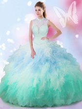 Dynamic Multi-color Ball Gowns High-neck Sleeveless Tulle Floor Length Lace Up Beading and Ruffles 15 Quinceanera Dress