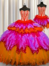 Three Piece Visible Boning Multi-color Sweetheart Lace Up Beading Quinceanera Gowns Sleeveless