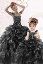 Edgy One Shoulder Floor Length Lace Up Sweet 16 Quinceanera Dress Black for Military Ball and Sweet 16 and Quinceanera with Beading and Ruffles
