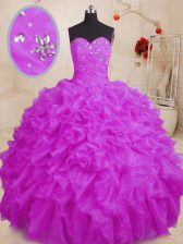Traditional Purple Ball Gowns Beading and Ruffles Quinceanera Gowns Lace Up Organza Sleeveless Floor Length